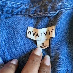 Women's plus size denim button up